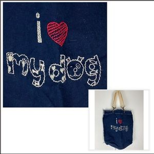 Amy Tangerine embroidered I love my dog tote